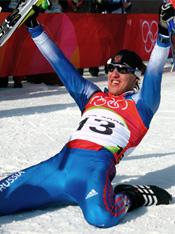 Евгений Дементьев после победного финиша на Олимпиаде в Турине