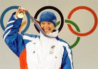 Галина Куклева с золотой медалью олимпиады в Нагано