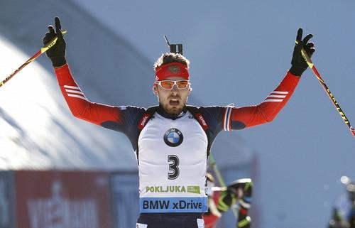 Российские биатлонисты победители в эстафете в Оберхофе