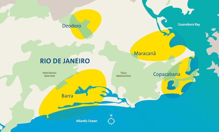 Карта расположения зон Олимпиады-2016